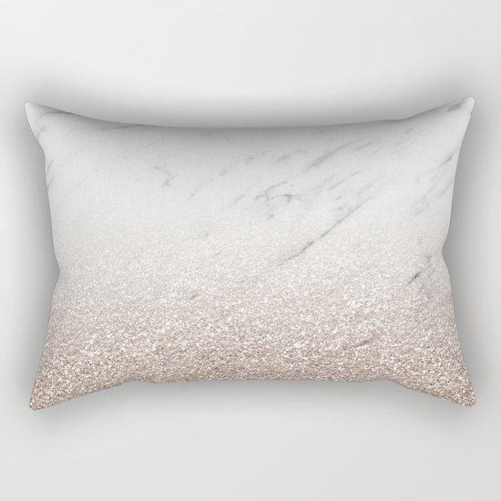 Glitter ombre - white marble & rose gold glitter Rectangular Pillow