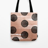 rose gold Tote Bags featuring rose gold #2 by LEEMO