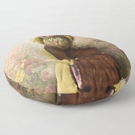 Lady Vanderkat with Roses Floor Pillow