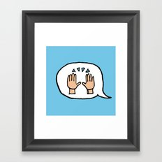Hand-drawn Emoji - Hands Raised Up In Cheer Framed Art Print
