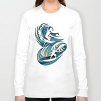 surfing Long Sleeve T-shirts featuring Surfing by A Laidig
