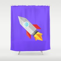 rocket Shower Curtains featuring Rocket by zwagaland
