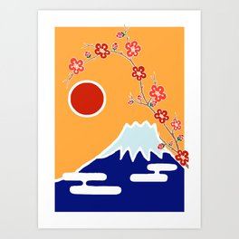 Mount Fuji and Sun Rise Art Print