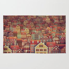 Cute City Street Scene ,Many Houses Rug
