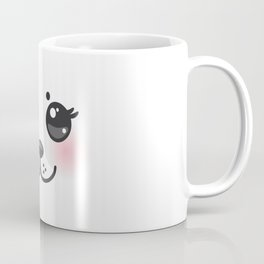 Kawaii funny albino animal white muzzle with pink cheeks and big black eyes Coffee Mug