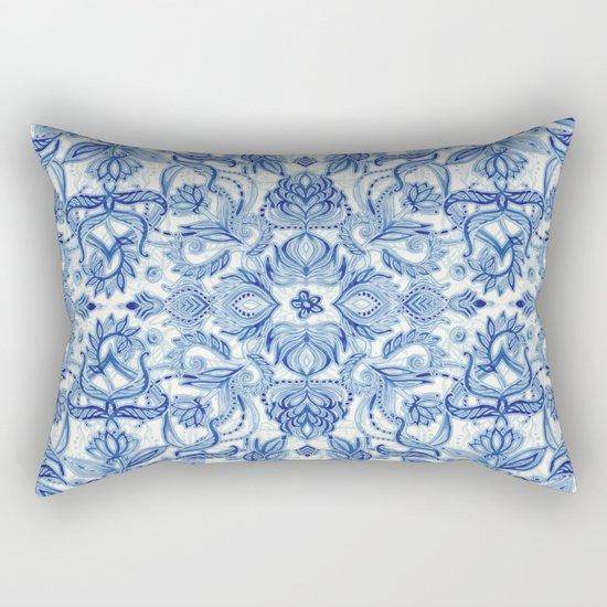 Pattern in Denim Blues on White Rectangular Pillow