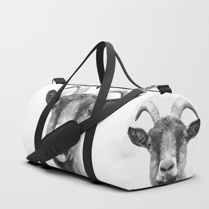 Black and White Goat Duffle Bag