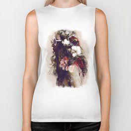 The girl with the flowers in her hair Biker Tank