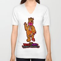 muppet V-neck T-shirts featuring The Walking Dead Muppet... Fozzie Bear!  The Waka-Waka-Waka-ing Dead! by beetoons