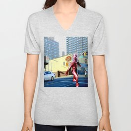 Spaceman crossing Kissina Boulevard in Queens New York Unisex V-Neck