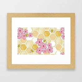 Cherry Blossom Bees Framed Art Print