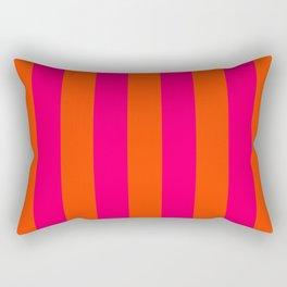 Bright Neon Pink and Orange Vertical Cabana Tent Stripes Rectangular Pillow