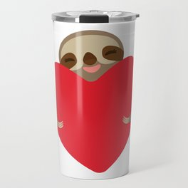 Valentines day card. Funny sloth with a red heart Travel Mug