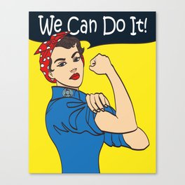 We Can Do It. Cool vector iconic woman's fist symbol of female power and industry. cartoon woman wit Canvas Print