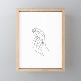 Minimal hands line drawing - Poppy Framed Mini Art Print