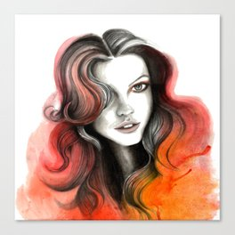 Red and Orange Flame Hair Canvas Print