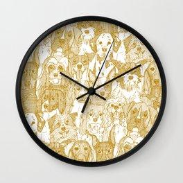 dogs aplenty gold white Wall Clock