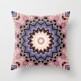 Pink blue ethnic pattern . Throw Pillow
