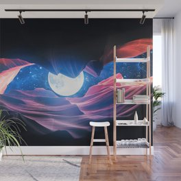 Grand Canyon with Space & Full Moon Collage I - v2 Wall Mural