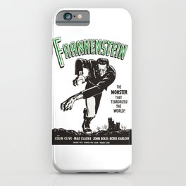 Frankenstein Vintage 1931 Movie Poster, Original Gift Idea, Boris Karloff, Bela Lugosi, Dracula iPhone Case