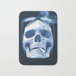 Skull Smoking Cigarette Blue Bath Mat