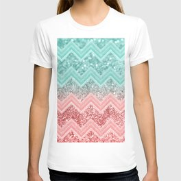 Summer Vibes Glitter Chevron #1 #coral #mint #shiny #decor #art #society6 T-shirt