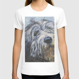 Polish Lowland Sheepdog dog art portrait from an original painting by L.A.Shepard T-shirt