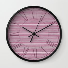 Bright Chalky Pastel Magenta Whitewashed Beach Hut Cladding Wall Clock