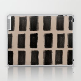 Brush Strokes Vertical Lines Black on Nude Laptop & iPad Skin
