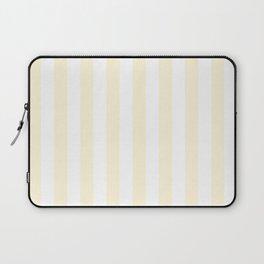 Narrow Vertical Stripes - White and Cornsilk Yellow Laptop Sleeve