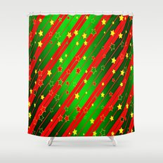 Holiday Season Stars and Stripes  Shower Curtain
