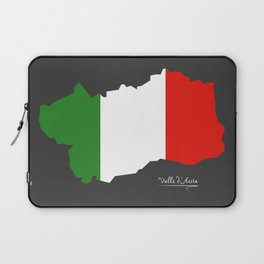 Valle d'Aosta map with Italian national flag illustration Laptop Sleeve