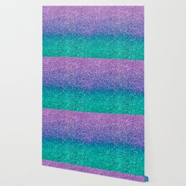 Lavender Purple & Teal Glitter Wallpaper