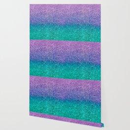 Lavender Purple & Teal Glitter Wallpaper