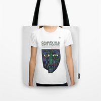 vonnegut Tote Bags featuring Vonnegut - Canary in a Cat House by Neon Wildlife