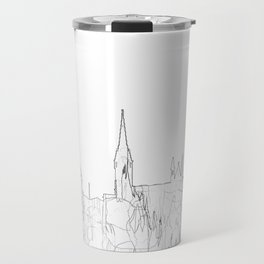 Cork, Ireland Skyline B&W - Thin Line Travel Mug