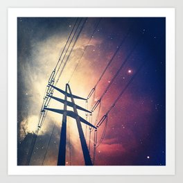 Powerlines to the Cosmos Art Print