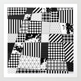 Mosaic Contrast - Black and white, geometric design Art Print