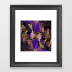 Abstract Nature - Textured, blue, yellow, pink, lilac, purple, black and orange painting Framed Art Print