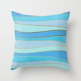 Waves Pattern - Golden Glitter Throw Pillow