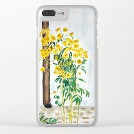 sun choke flowers outside a house Clear iPhone Case