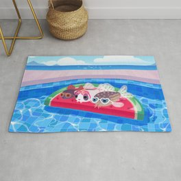 Cory cats in the swimming pool Rug