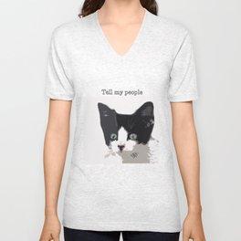 bully kitten tell my people Unisex V-Neck