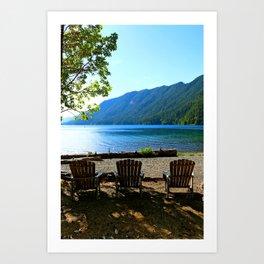 Adirondack Chairs at Lake Cresent Art Print