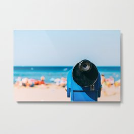 Blue Coin Operated Telescope With Beach And Ocean Background Metal Print