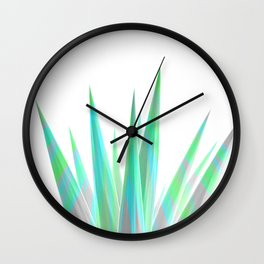 Tropical Allure - Green & Grey on White Wall Clock