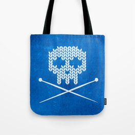 Knitted Skull / Knitting with Attitude (Black on Blue) Tote Bag