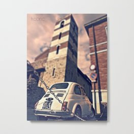 A vintage car under a medieval tower, Italy Metal Print