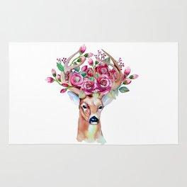 Shy watercolor floral deer Rug