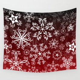 Symbols in Snowflakes on Holly Berry Wall Tapestry